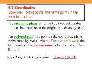 4.1 Coordinates Objective :  To plot points and name points in the coordinate plane.
