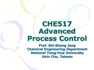 CHE517 Advanced Process Control