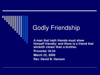 Godly Friendship