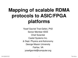 Mapping of scalable RDMA protocols to ASIC/FPGA platforms