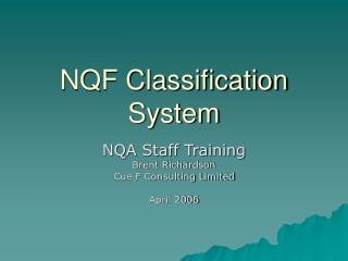 NQF Classification System