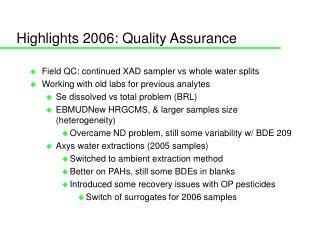 Highlights 2006: Quality Assurance