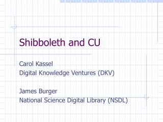 Shibboleth and CU