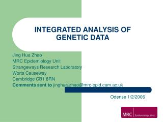 INTEGRATED ANALYSIS OF GENETIC DATA