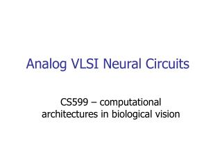 Analog VLSI Neural Circuits