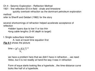 Ch 4 - Seismic Exploration - Reflection Method