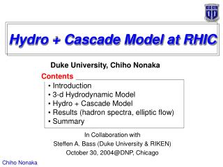 Hydro + Cascade Model at RHIC