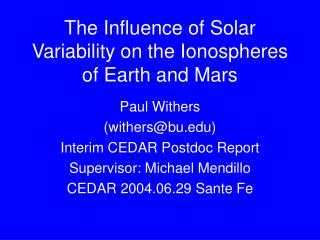 The Influence of Solar Variability on the Ionospheres of Earth and Mars
