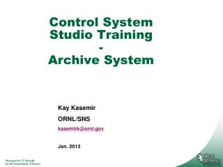Control System Studio Training - Archive System
