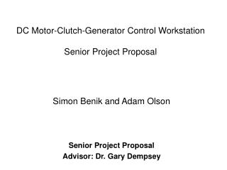 DC Motor-Clutch-Generator Control Workstation Senior Project Proposal