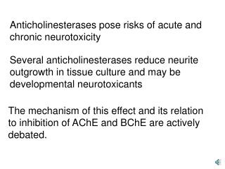 Anticholinesterases pose risks of acute and chronic neurotoxicity