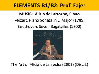 ELEMENTS B1/B2: Prof. Fajer