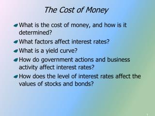 What is the cost of money, and how is it determined? What factors affect interest rates?