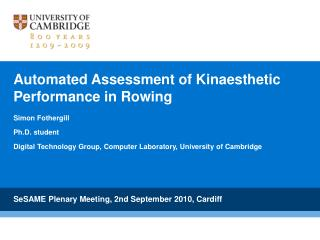 Automated Assessment of Kinaesthetic Performance in Rowing