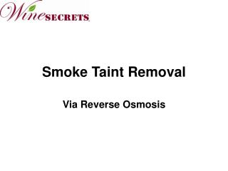 Smoke Taint Removal