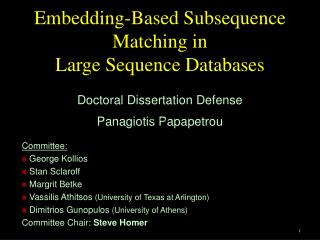 Embedding-Based Subsequence Matching in  Large Sequence Databases