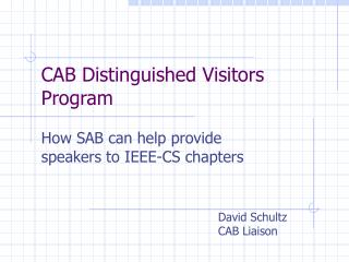 CAB Distinguished Visitors Program