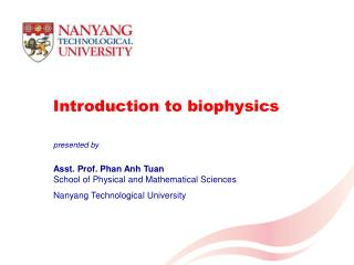 Introduction to biophysics