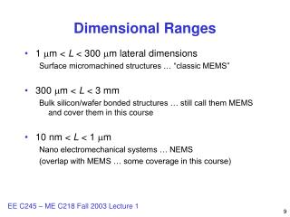 Dimensional Ranges