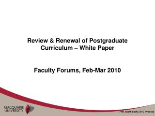 Review & Renewal of Postgraduate Curriculum – White Paper