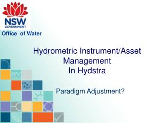 Hydrometric Instrument/Asset Management In Hydstra