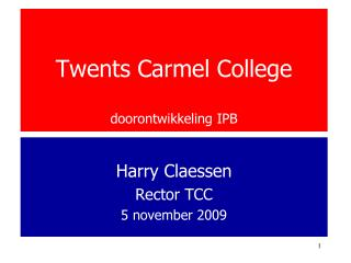 Twents Carmel College  doorontwikkeling IPB