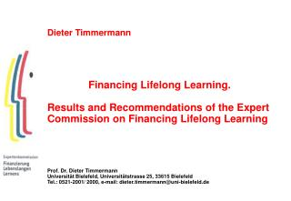 Dieter Timmermann Financing Lifelong Learning.
