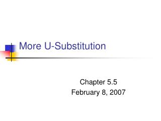 More U-Substitution