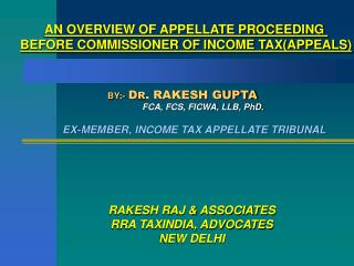 AN OVERVIEW OF APPELLATE PROCEEDING  BEFORE COMMISSIONER OF INCOME TAX(APPEALS)