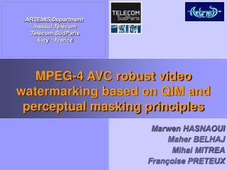 MPEG-4 AVC robust video watermarking based on QIM and perceptual masking principles