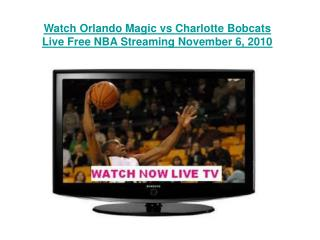 Watch Orlando Magic vs Charlotte Bobcats Live Free NBA Strea