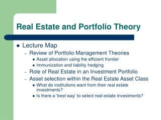 Real Estate and Portfolio Theory