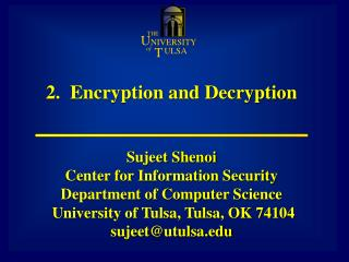 2.  Encryption and Decryption