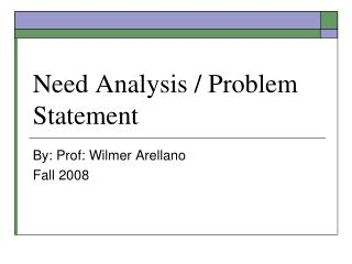 Need Analysis / Problem Statement
