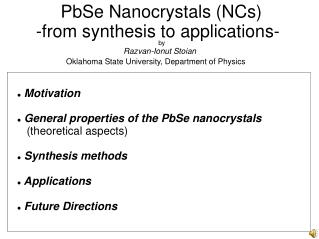 PbSe Nanocrystals (NCs)  -from synthesis to applications-