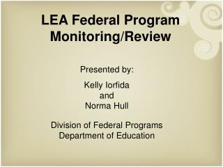 LEA Federal Program Monitoring/Review