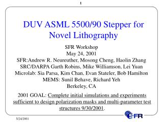 DUV ASML 5500/90 Stepper for Novel Lithography