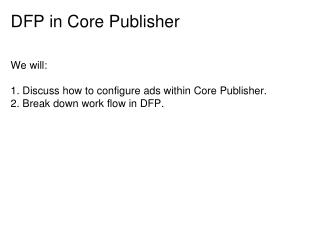 DFP in Core Publisher