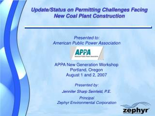 Update/Status on Permitting Challenges Facing New Coal Plant Construction