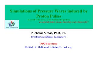Nicholas Simos, PhD, PE Brookhaven National Laboratory INPUT also from