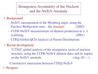 Strangeness Asymmetry of the Nucleon  and the NuTeV Anomaly