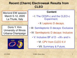 Recent (Charm) Electroweak Results from CLEO