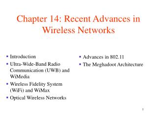 Chapter 14: Recent Advances in Wireless Networks
