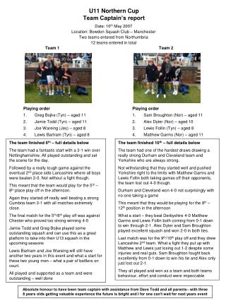 U11 Northern Cup Team Captain's report