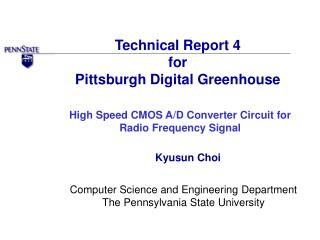Technical Report 4 for Pittsburgh Digital Greenhouse