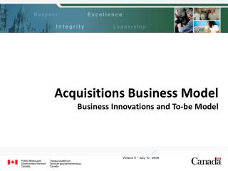Acquisitions Business Model Business Innovations and To-be Model