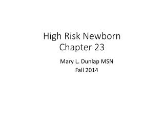 High Risk Newborn Chapter 23