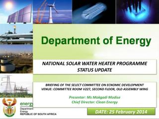 NATIONAL SOLAR WATER HEATER PROGRAMME STATUS UPDATE