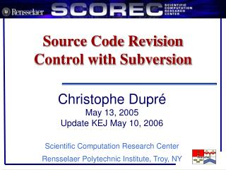 Source Code Revision Control with Subversion