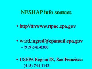 NESHAP info sources